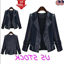 XL-5XL Women's Faux Leather Zipper Jacket Coat Autumn Rock S
